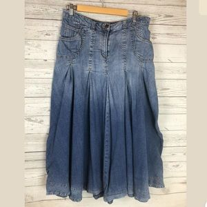 Soft surroundings size large denim skirt full